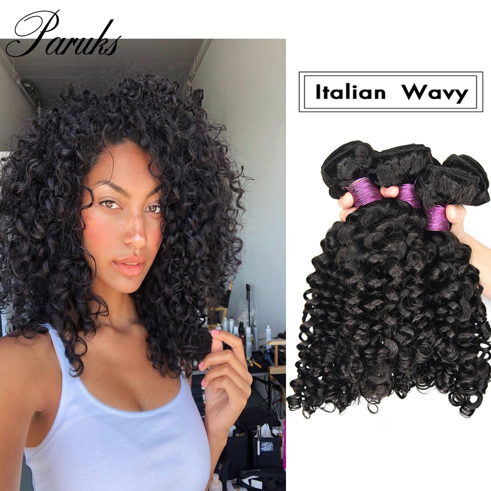 Paruks italiano ondulado pacotes de cabelo indiano 100% não transformados virgem humano extensões do cabelo remy tecer pacotes ondulados|Apliques ondulados|   -