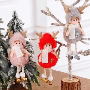 Image 1 - 2021 신년 선물 최신 크리스마스 귀여운 실크 봉제 천사 인형 크리스마스 트리 펜던트 노엘 크리스마스 장식 홈 2020 데코