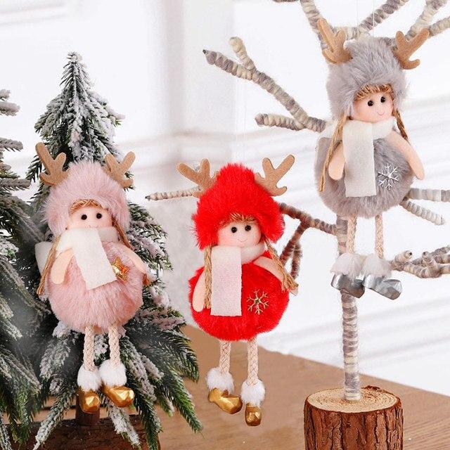 2021 신년 선물 최신 크리스마스 귀여운 실크 봉제 천사 인형 크리스마스 트리 펜던트 노엘 크리스마스 장식 홈 2020 데코