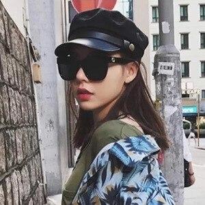 Rede mar vermelho militar boné britânico-estilo retro outono e inverno chapéu feminino versitile moda-casual plana topo coreano-estilo be