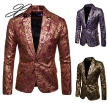 Xnxee mens suit 2019 autumn and winter new casual ethnic style bronzing floral slim jacket