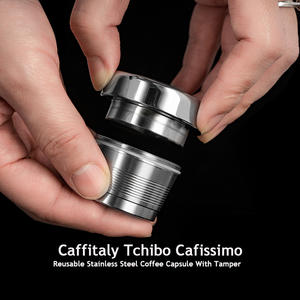 Refillable Coffee Filters For Caffitaly Tchibo Cafissimo ALDI Expressi Reusable Stainless Steel Cafeteira Coffee Pod Tamper