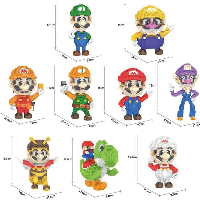 Bloques de construcción de figuras de super Mario bros para niños, juguete de piezas de bloques de Lepining, Wario, Yoshi, Waluigi, Luigi, mini micro diamante