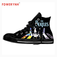 Men's Canvas Casual Shoes The Beatle Band Metal Music Customize Pattern Color High Top Lace Up Lightweight Footwear For Men