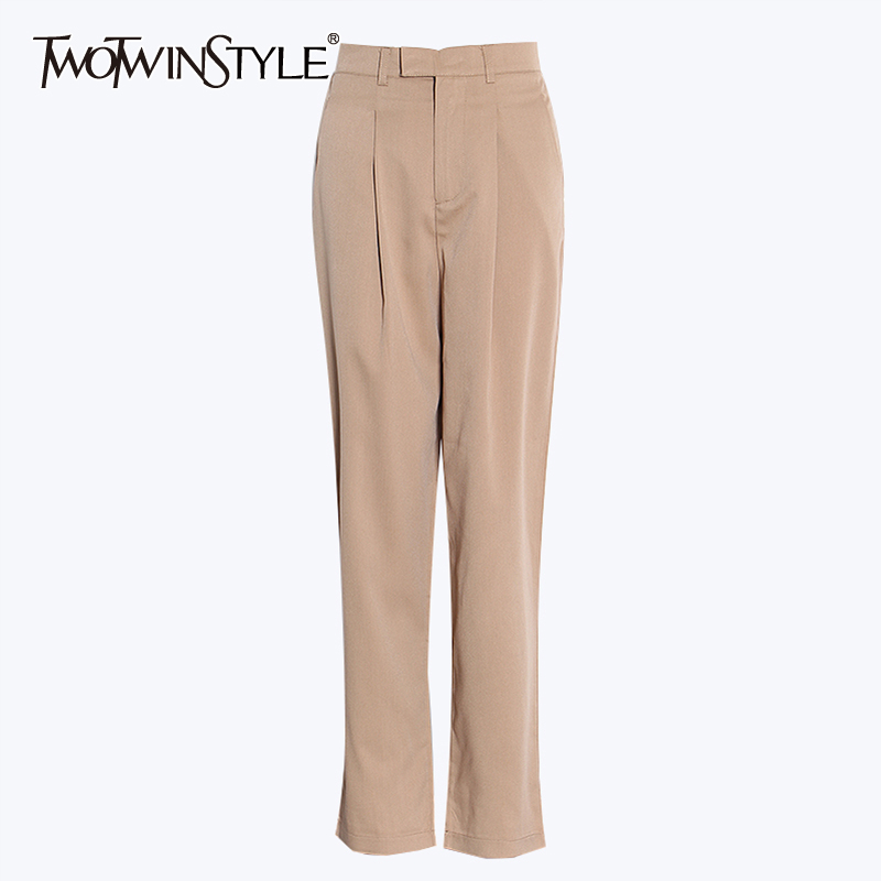 TWOTWINSTYLE Elegant Casual Trousers For Women High Waist Pocket Loose Straight Pants Female 2020 Spring Fashion New Clothing