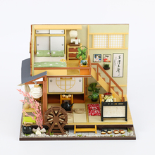 DIY Handmade Japanese Theme Wooden Cabin Assembly Building Model Toy Set with Light and Music - Doll Houses Forest Holiday все цены