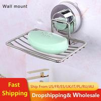 Bathroom Strong Suction Soap Dish Holder Stainless Soap Rack Wall Holder Steel Tray Bathroom Rack Soap Container Shower Storage|Storage Shelves & Racks| |  -