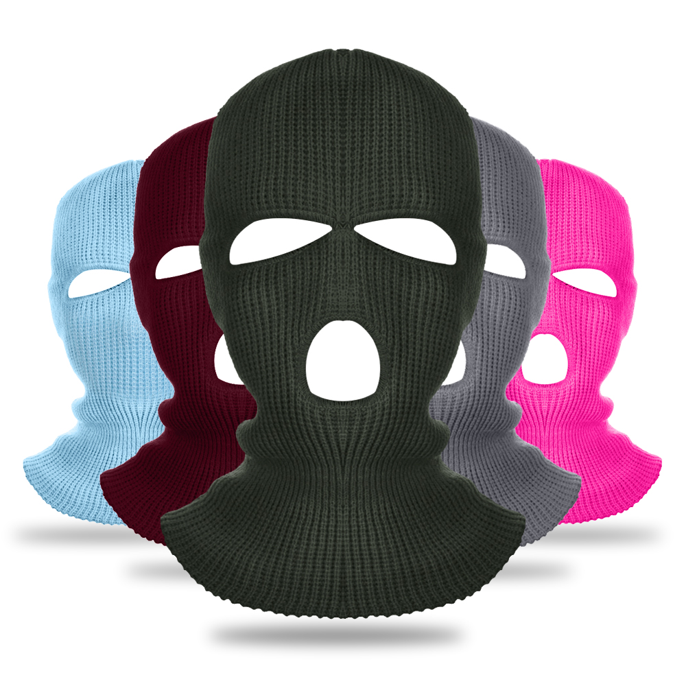 Winter Knit Hat 3 Hole Full Face Mask Ski Mask Winter Cap Balaclava Hood Motorbike Motorcycle Helmet Full Face Helmet New Hot