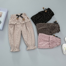 0-4T Baby Girls Pants New Autumn Cotton Polka Dot Print Pants Casual Trousers Lovely Toddler Girl Clothes #m цена 2017