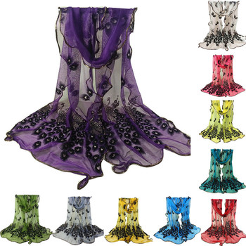 New Design Women Chiffon Peacock Feather Flower Embroidered Lace Stylish Scarf Long Soft Wrap Shawl Ladies Scarf Stole image