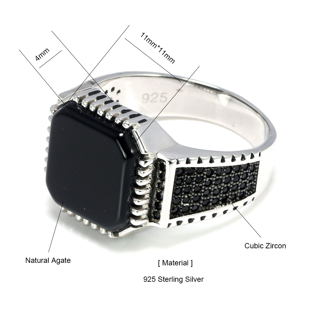 Image 5 - Genuine Solid 925 Sterling Silver Turkish Rings For Men Black Rings With Stone Square Natural Onyx Vintage Male Jewelry AnelliRings   -