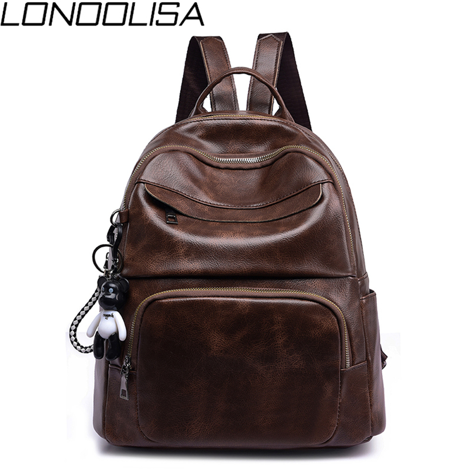 New Vintage Soft Leather Women Backpack Cute Bear Pendant School Bag For Teenage Girls Light & Large Capacity Ladies Travel Bags