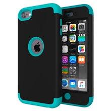 Funda para iPod Touch 7/Touch 6, carcasa protectora de cuerpo completo a prueba de golpes de alto impacto de trabajo pesado con doble capa duro PC + Silicona