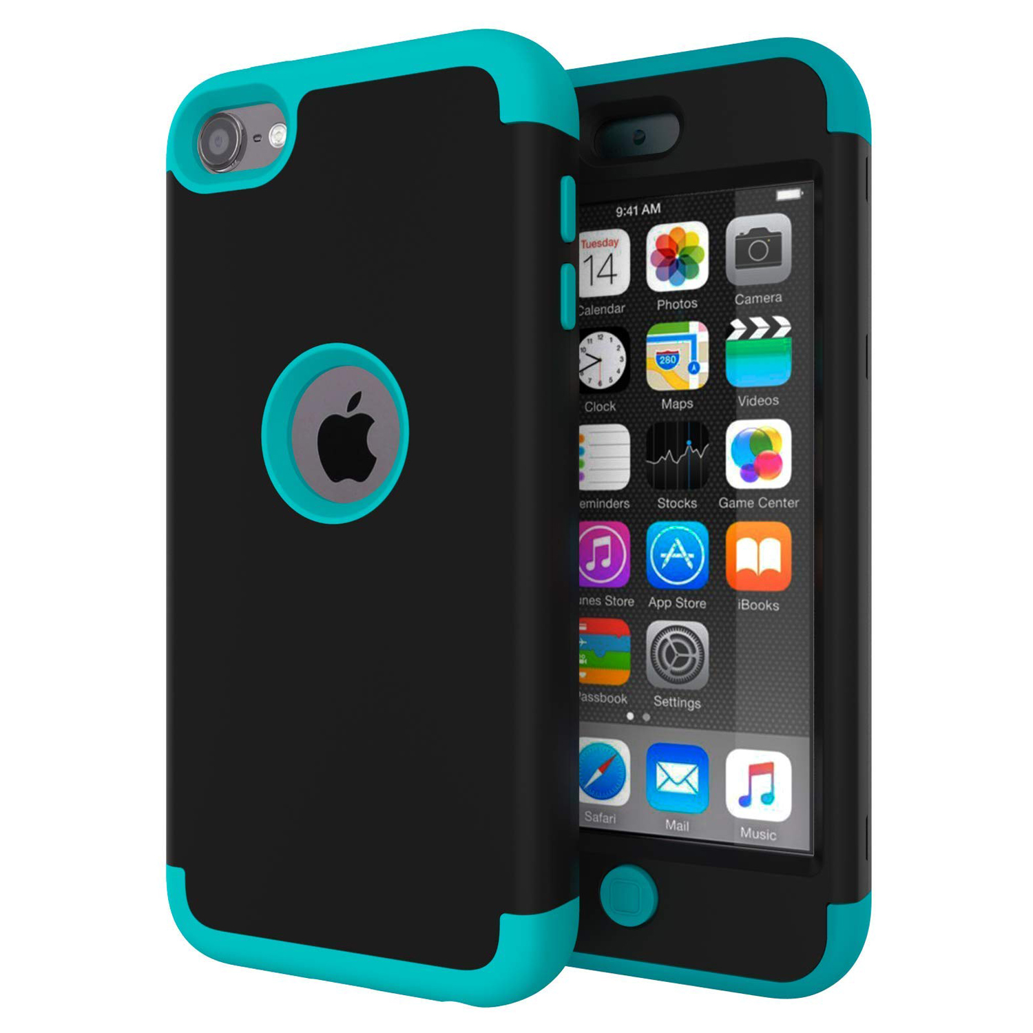 untuk iPod Touch 7 / Touch 6 Case, High Impact Heavy Duty Shockproof Full-Body Protective Case dengan Dual Layer Hard PC + Silicone