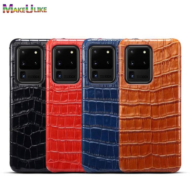 Genuine Leather Case For Samsung Galaxy S20 Ultra Plus Cover Luxury Alligator Funda Case For Samsung S20 Plus Ultra  Coque Case