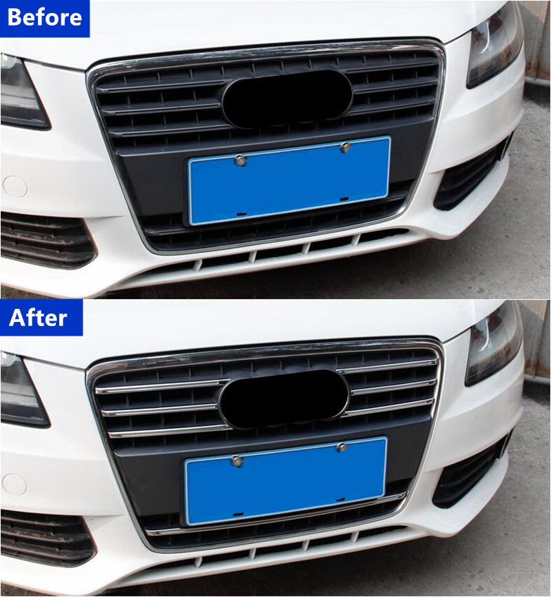 lowest price Stainless Steel Front Grill Grille Decorative Cover Trim Strips For Audi A4 2009-2012 Car Front Fog Lamp Strips