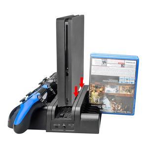Image 2 - Многофункциональная двойная зарядная станция 3 в 1, док станция с вентилятором охлаждения для PS4/PS4 Slim/PS4 Pro, Прочный вертикальный держатель с подставкой, черный, хит продаж