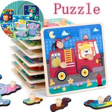 Kids Animal 3D Wooden Puzzle Montessori Toy Wooden Peg Hand Grasping Board Puzzle Telling Story Stacking Jigsaw Toy For Children cheap CN(Origin) Unisex 3 years old NONE 3D PUZZLE about 75g per piece 15*15*2cm support