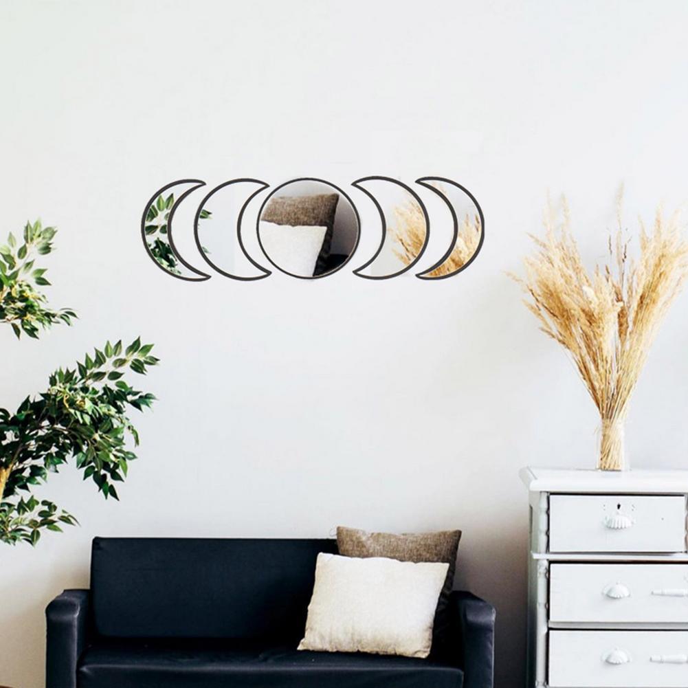 Estilo nórdico decoração natural acrílico moonphase espelhos