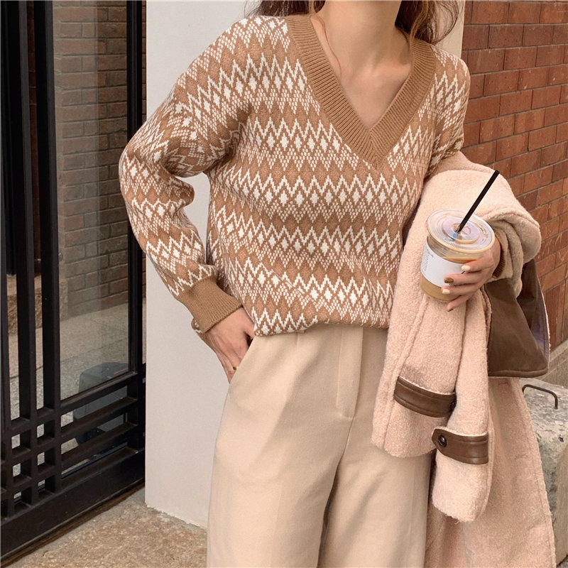 HziriP Hot Sale Sexy V-Neck Patchwork Jumpers Chic All Match 2020 Slim Gentle Pullovers Women Loose Leisure Brief Sweaters