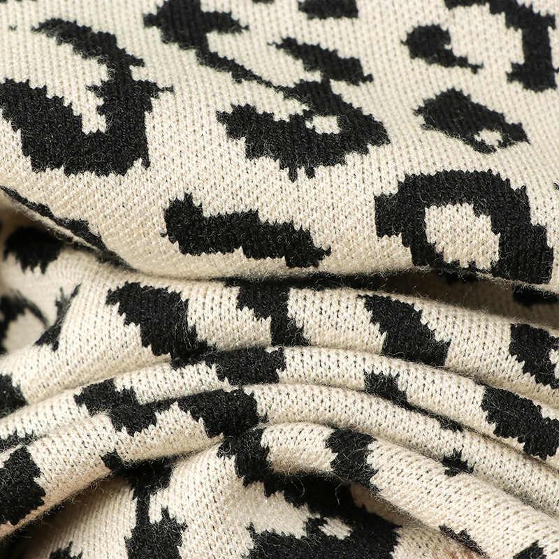 סריגי kardigan סתיו eam החורף חדש צוואר עגול נמר אקארד אופנה סקסי סוודר נשים גופיות mujer moda 2019