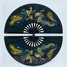 Bambu duplo de alta qualidade tai chi desempenho fã de artes marciais fãs kung fu preto capa china muitos padrão chooes