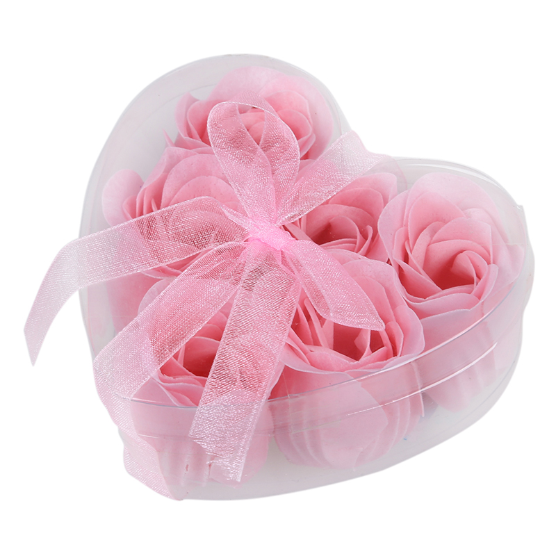 6 Pcs Soap Roses Light Pink Decorative Fragrant Rose Bud Petal Soap Wedding Favor Bath Spa Accessories Body Care Wash