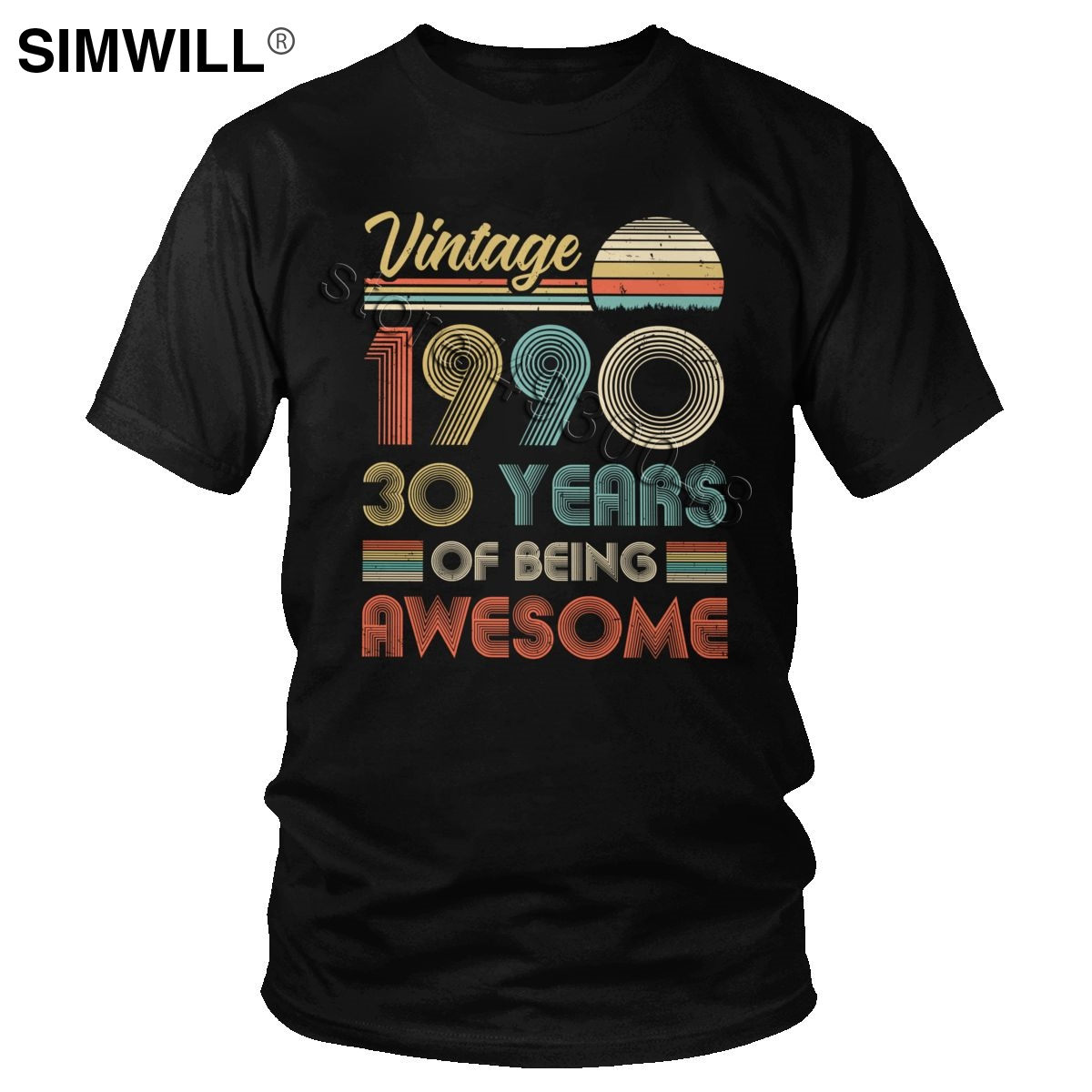Vintage 1990 30th Birthday T Shirt 30 Years Of Being Awesome T-Shirt Short Sleeve Born In 90s Anniversary Present Cotton Tee Top