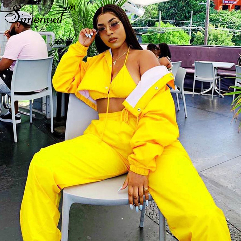 Simenual Casual Fashion 2019 Women Matching Sets Long Sleeve Solid Workout 2 Piece Outfit Autumn Winter Jacket And Pants Set New