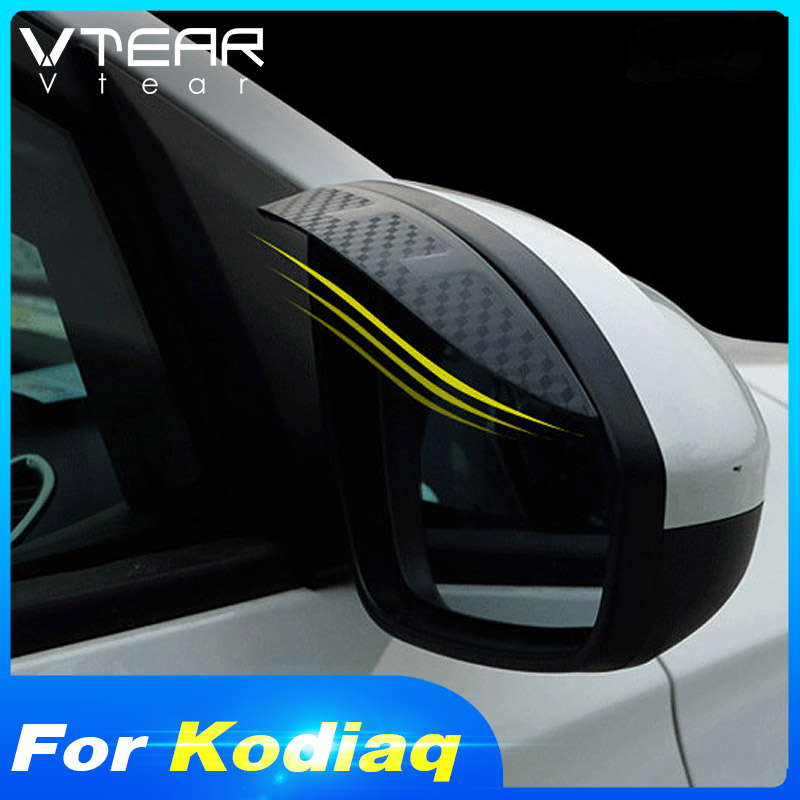 Vtear For Skoda Kodiaq Car Rearview Mirror Rain Eyebrow Protector Awnings & Shelters Rain Guard Visor Shade Shield Exterior Part