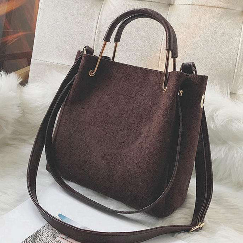 Vintage Leather Women's Tote Bags Luxury Faux Suede Crossbody Bags Ladies Handbags And Purses Female Solid Color Shoulder Bags