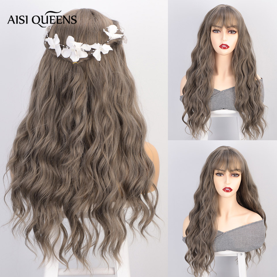 AISI QUEENS Long Synthetic Wigs for Women Cosplay Wigs with Bangs Brown Grey Water Wave Natural Hair Average Size Synthetic Wig