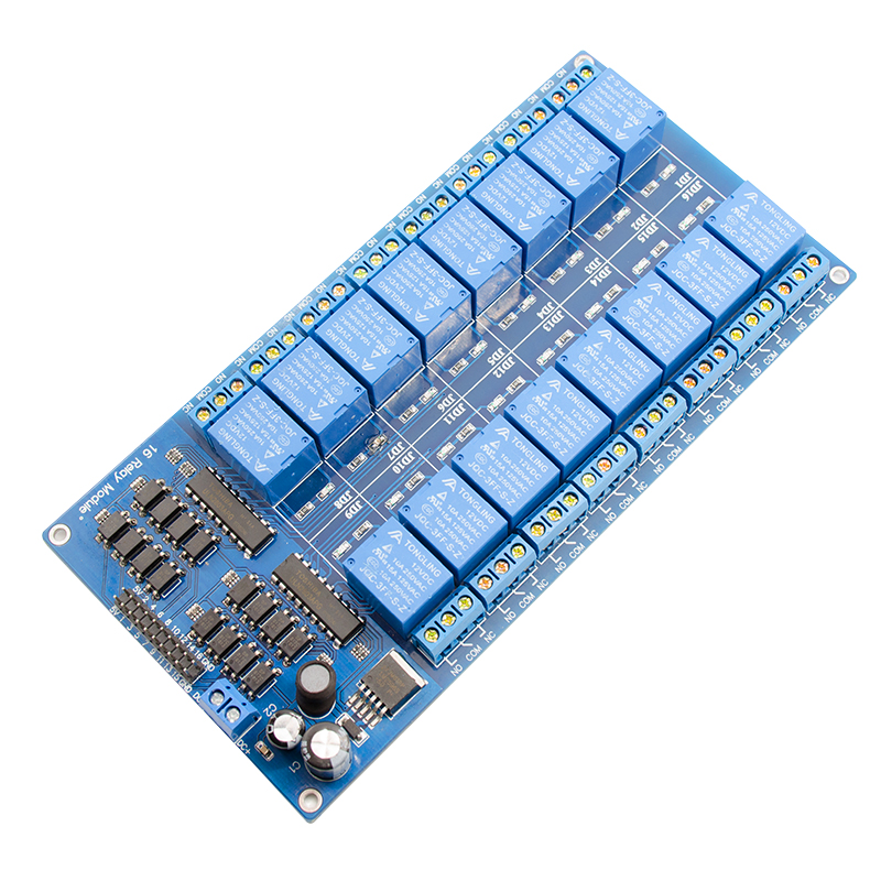 5pcs/lot 16 Channel 12V 10A AC250V Relay Module For 8051 PIC ARM DSP PLC ARM MSP430 PLC TTL