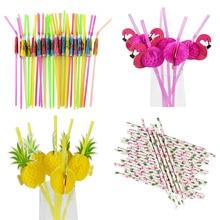 25/50Pcs Mix color Tropical Umbrella Flamingo Pineapple Cocktail Straws Disposable Juice Drinking Straw Hawaii Beach Party Decor