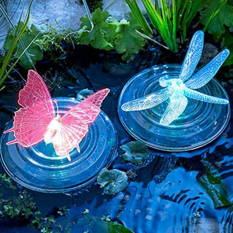Солнечный светодиодный плавающая лампа RGB Цвет изменение бабочки/Стрекоза Форма открытый сад плавательный фонтан воды светильник домашний...