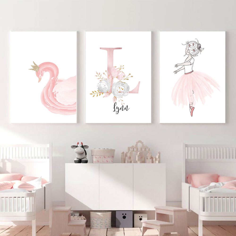 Baby Posters Personalized Girl's Name Custom Poster Nursery Prints Pink Flowers Wall Art Canvas Painting Pictures For Girls Room on AliExpress