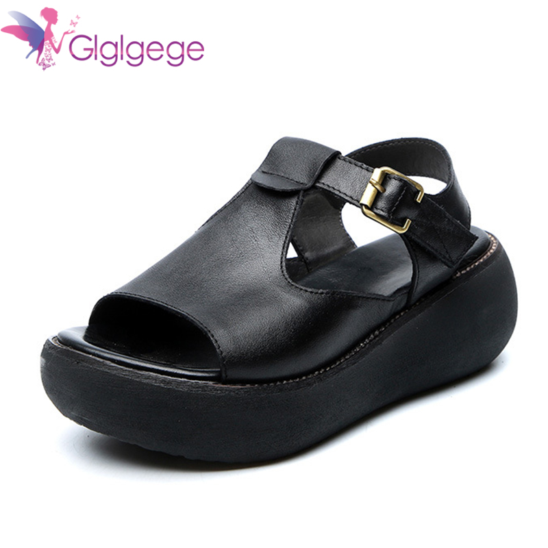 Cheap Glglgege 2020 Summer Women Platform Round Toe Sandals Mary Janes Red Increasing Slippers Plue Size Genuine Leather Wedge Shoes