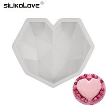 Силиконовые 3D формы SILIKOLOVE в форме сердца с бриллиантами для выпечки, губки, шифона, десерта, мусса, формы для торта пищевого класса