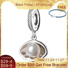 ATHENAIE collier en argent Sterling 925, coque dariel, perles blanches, pendentif en CZ, idéal pour bracelet, bijoux à bricoler soi même
