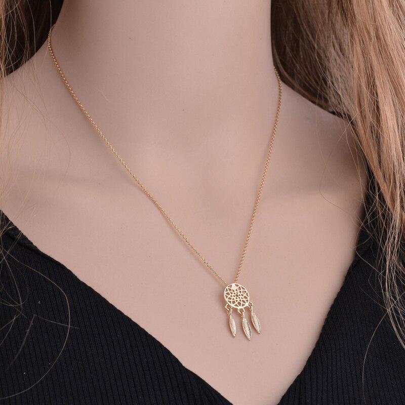 Mode capteur de rêves série bijoux collier plume collier Long chandail chaîne déclaration bijoux collier ras du cou pour les femmes