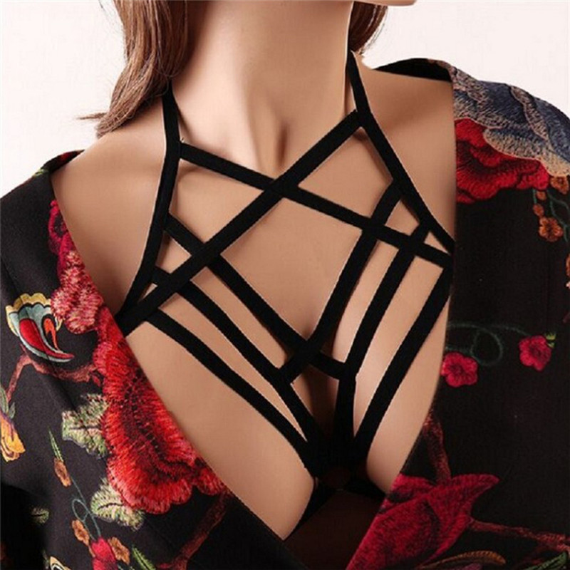 Women Gothic Sexy Elastic Cage Crop Top Bras Erotic Lingerie Strappy Hollow Out Bra Bustier Bandage Bra Black Harness 3 Styles