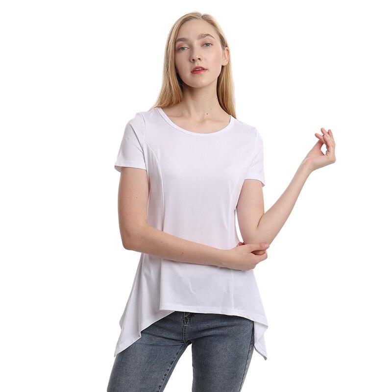 Женская свободная футболка размера плюс, однотонный пуловер с коротким рукавом, топы белого цвета с круглым вырезом, тонкая нестандартная