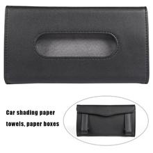 Car Tissue Box Holder Coche Sun Visor Tissue Paper Holder PU Leather Napkin Cover Auto Interior Accessories