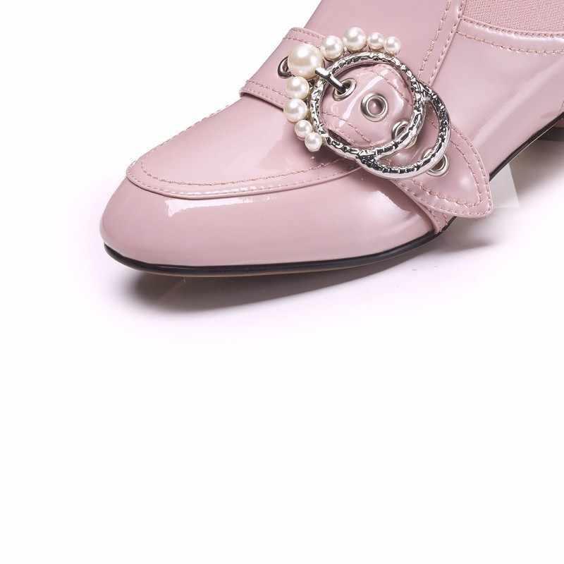 Mới Bán Nữ Thời Trang Giày Đính Hạt Kim Loại Trang Trí Cho Nữ Giày Chelsea Boot Gót Vuông Nữ Đảng Mắt Cá Chân Giày Boots đen