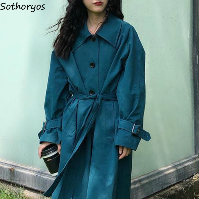 Trench Women Solid Sashes A-line Single Breasted Fashion Oversize Loose Korean Style Students Chic Leisure Womens Coats Ulzzang