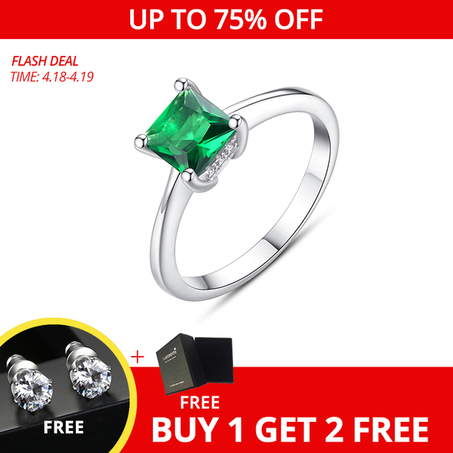 CZCITY Emerald Simple Female Zircon Stone Finger Ring 925 Sterling Silver Women Jewelry Prom Wedding Engagement Rings Brand Gift 1