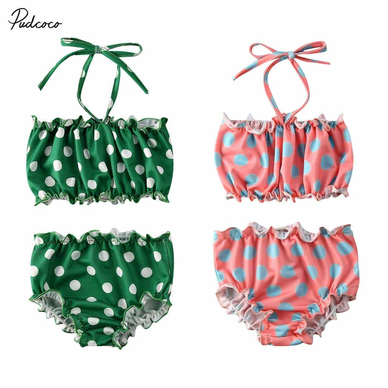 2020 Toddler Kid Swimming 2pcs Baby Girls Polka Dot Tankini Swimwear Summer Beach Bathing Swimsuit Holiday Two Pieces