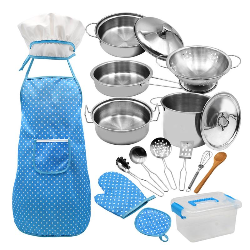 Children Stainless Steel Kitchen Cookware Set Pot Pan Cooking Role Play Toy Kids Chef Set Cook Costume With Apron Hat