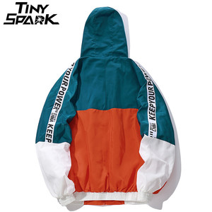 Image 2 - Hip Hop Mens Hooded Windbreaker Jacket Autumn 2019 Casual Vintage Color Block Loose Track Hoodie Jacket Coats Streetwear HipHop
