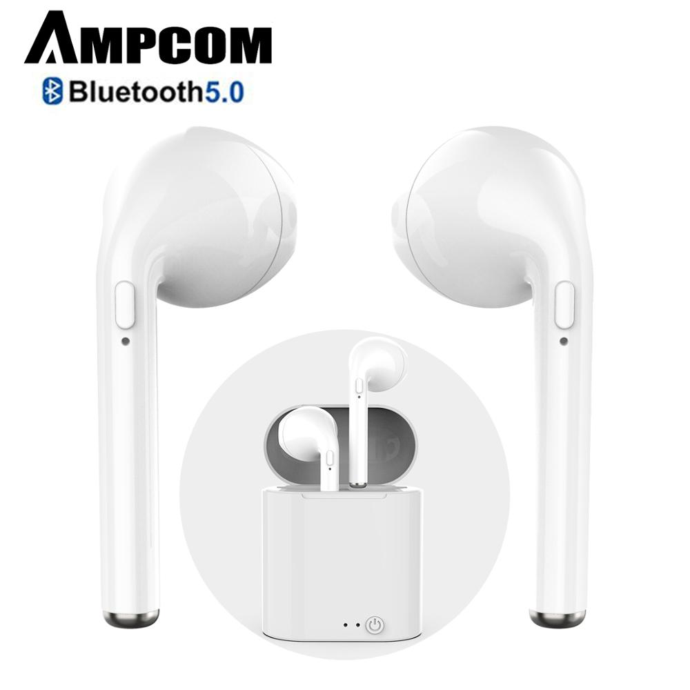 AMPCOM Bluetooth Earphone Wireless Bluetooth 5.0 Sports Headphones Stereo Earbud Headset With Charging Box For IPhone Xiaomi